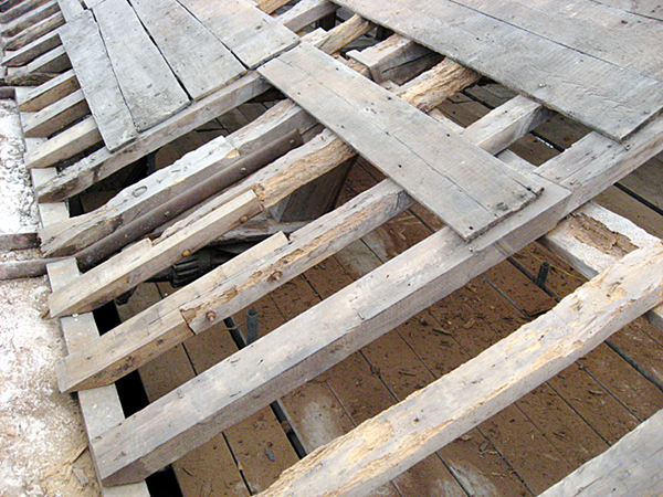 Looking down through the roof timbers to the crash deck